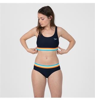 Speedo | Summer Stripe Bikinit Deep U-Back | Tummansininen